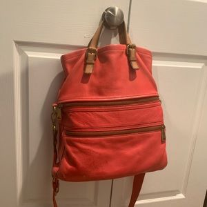 Fossil Red Leather Crossbody